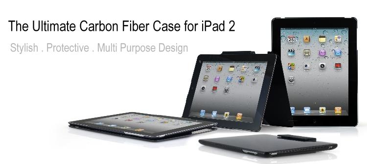 CFbanner Elite Foilo Carbon Fiber pour iPad 2   Une coque multi usage de luxe avec un prix de luxe