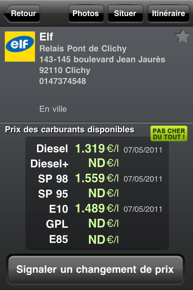 Détail station 4 codes à gagner VeryCarbu (1,59€) : savoir où acheter son essence le moins cher !