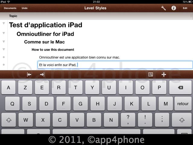 Test dOmniOutliner (15,99€) pour iPad