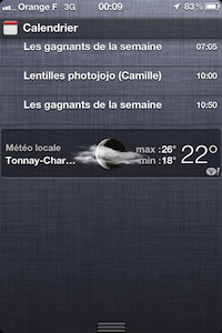 Centre notifications Calendrier iOS 5 Béta 2 : centre des notifications amélioré
