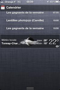 Centre notifications Calendrier iOS 5 Béta 2 : centre des notifications amélioré