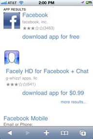 Facebook bing Bing sait maintenant afficher les applications iOS