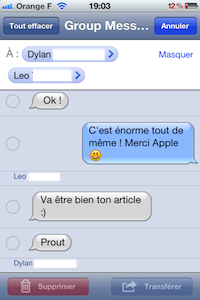 GroupMessage SMS iOS 5 : les messages groupés (SMS / iMessage) en images