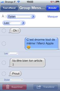 GroupMessage SMS iOS 5 : les messages groupés (SMS / iMessage) en images