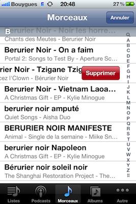 IMG 0169 iOS 5 : Supprimez musiques et appels uns à uns !