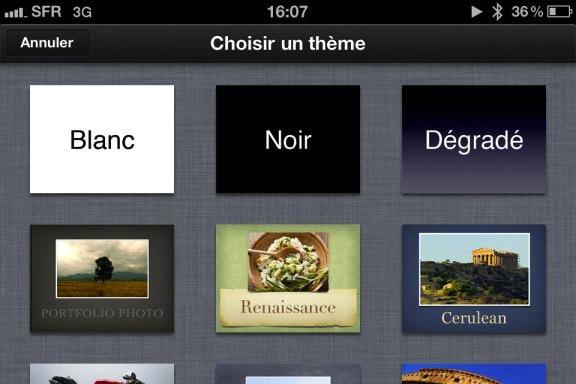 Image keynote 1 Test de iWork 1/3   Keynote, créer des diaporamas de qualité sur iPhone (7,99€)