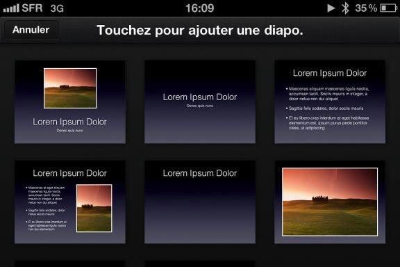 Image keynote 2 Test de iWork 1/3   Keynote, créer des diaporamas de qualité sur iPhone (7,99€)