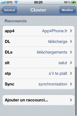 Raccourcis texte iOS5 1 iOS5 : Paramétrez vos propres raccourcis de texte !