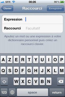 Raccourcis texte iOS5 2 iOS5 : Paramétrez vos propres raccourcis de texte !