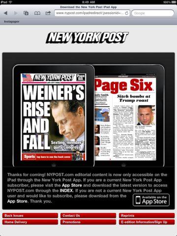 new york post Le New York Post bloque les internautes depuis Safari Mobile sur iPad pour promouvoir son application !