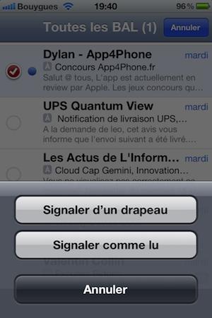 photo 1 iOS 5 : Marquez rapidement des mails en lus ou avec un drapeau