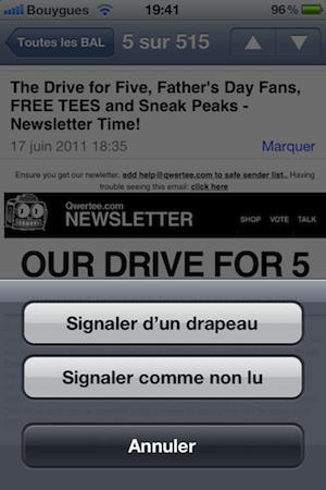 photo 22 iOS 5 : Marquez rapidement des mails en lus ou avec un drapeau