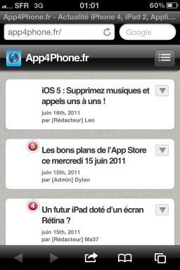 photo iOS5 : Safari fait le plein de nouveautés