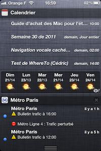Cal iOS 5.0.4 Centre notification iOS 5 bêta 4 : bug du calendrier pour le centre de notifications corrigé