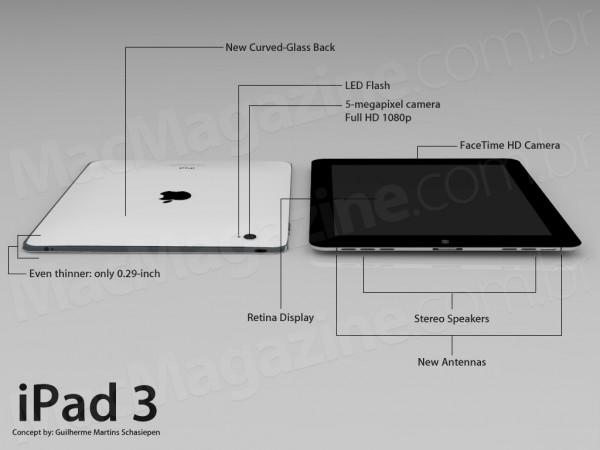 Concept iPad3 1 Un nouveau concept pour un iPad 3 encore plus fin avec une caméra 5Mpx et un Flash LED