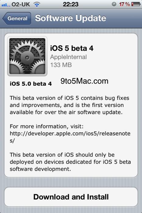 Mise à jour OTA Les premières nouveautés de liOS5 Beta 4