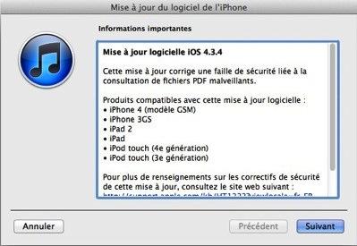 iOS4.3.4 liOS 4.3.4 est de sortie et rend inopérant JailbreakMe