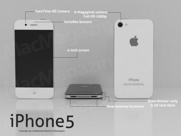 iPhone5 concept 1 Un nouveau concept dun iPhone 5 plus fin, avec un écran 4 et Facetime HD
