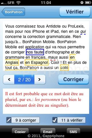 Concours : 5 codes à gagner de Bon Patron mobile   Le 1er correcteur orthographique sur iOS (4,99€)