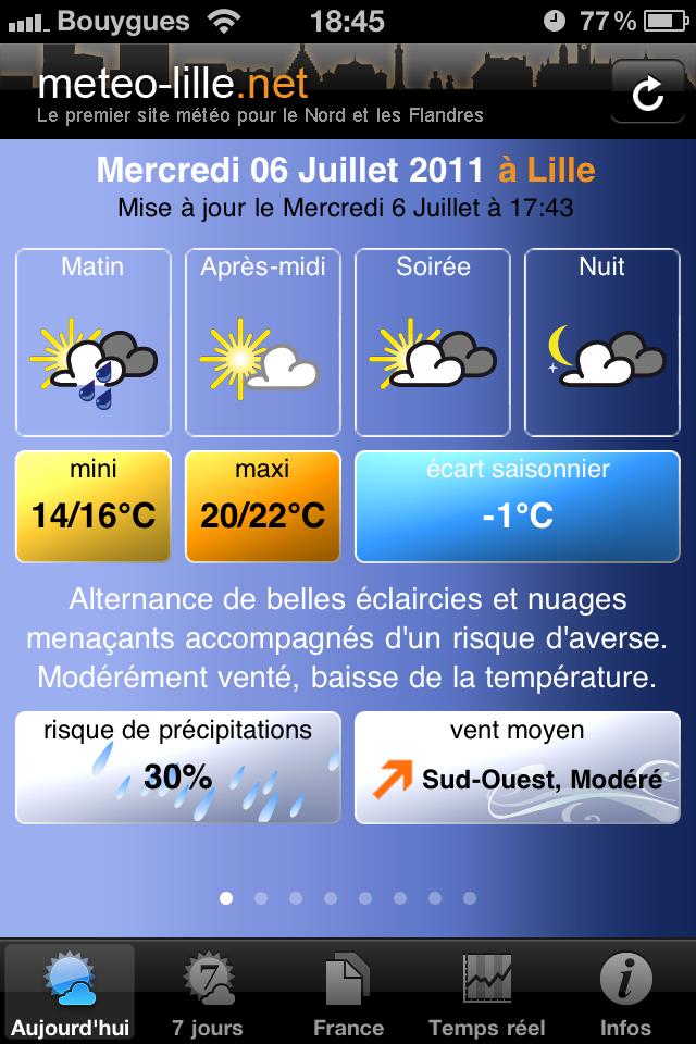 test cardi ecran accueil [Test] Appli Météo Cardiweb   Les applications références de la météo sur iPhone (gratuit)