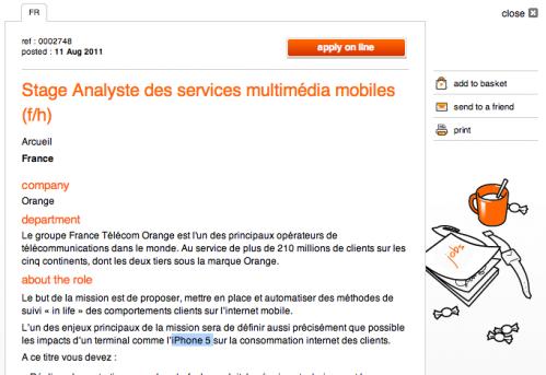 Analyse orange iphone5 Les opérateurs téléphoniques préparent le lancement de liPhone 5 pour septembre