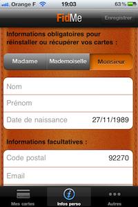 Compte info perso FidMe (gratuit) : toutes vos cartes de fidélité dans votre iPhone