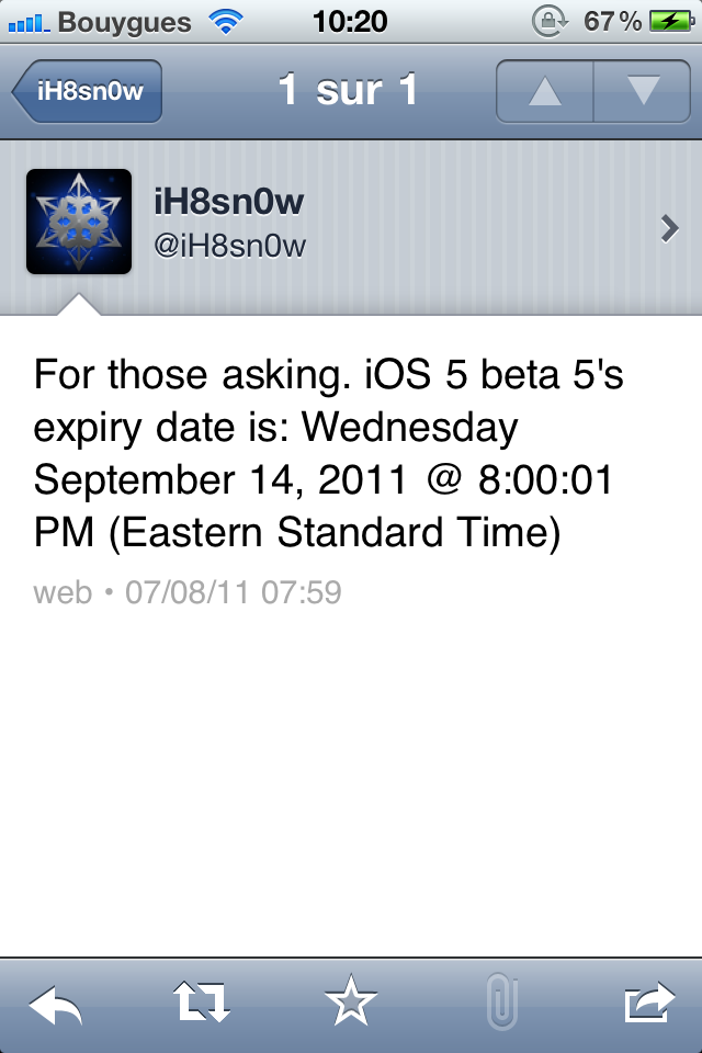 IMG 0018 [MàJ] iOS5 : date de sortie de la ß6 pour le 18 août et date dexpiration de la ß5