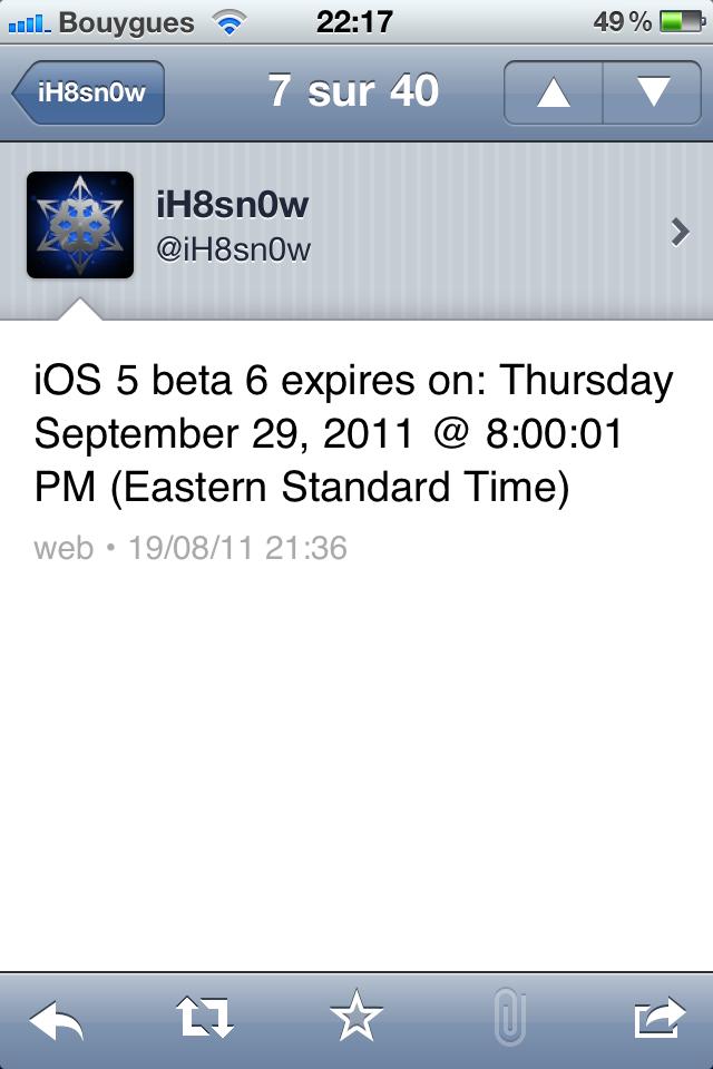 Date d'expiration iOS 5b6