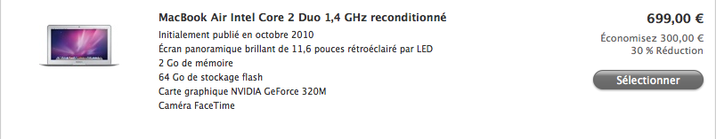 Macbook air refurb Des Macbook Air à 699€ sur le Refurb Store dApple !
