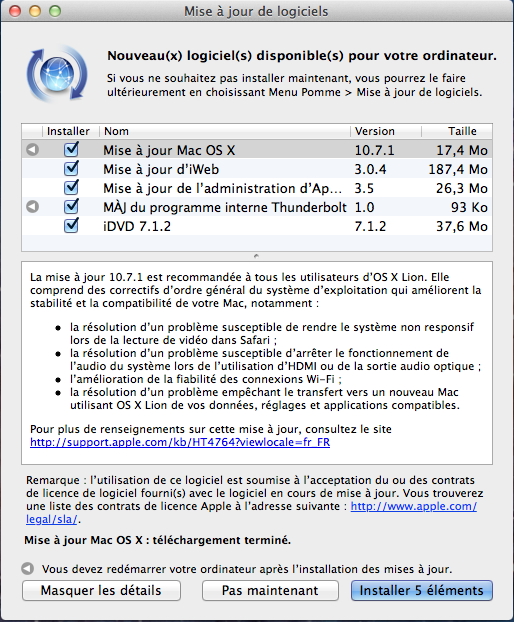 OSX lion Capture Maj Mac OSX Lion passe en Version 10.7.1 et se vend sur clé USB