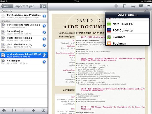 Test PDFConverter001 Test de PDF Converter [iPad]   Sauvegarder, regrouper, et partager tous vos documents dans le format PDF