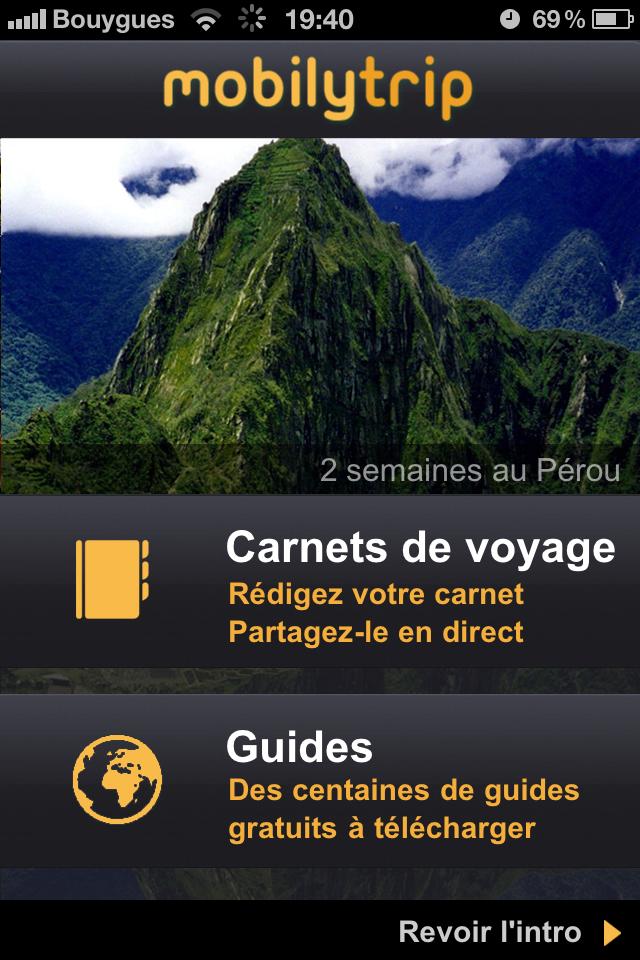 Test mobilytrip ecran accueil [Test] de Mobilytrip   le carnet de voyage indispensable pour votre iPhone (gratuit)