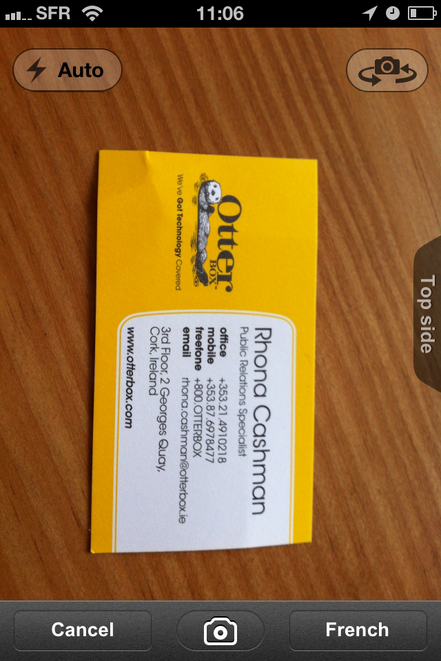 TestCarScanPro002 Test de Card Scanner Pro   Reconnaissance et importation de cartes de visite sur iPhone (5,49€)