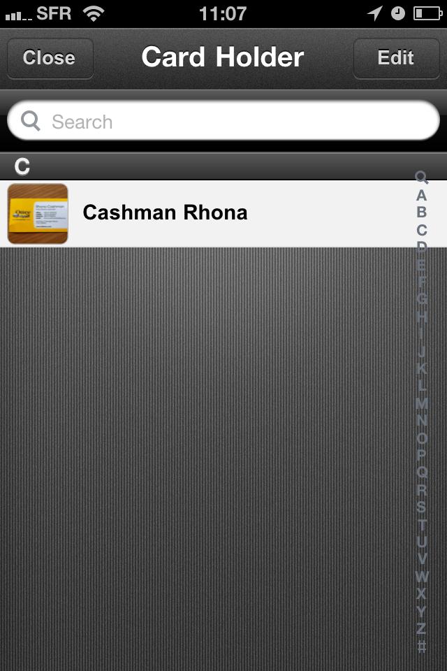 TestCarScanPro007 Test De Card Scanner Pro Reconnaissance Et Importation Cartes Visite Sur IPhone