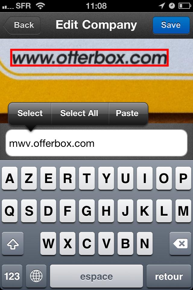 TestCarScanPro009 Test de Card Scanner Pro   Reconnaissance et importation de cartes de visite sur iPhone (5,49€)
