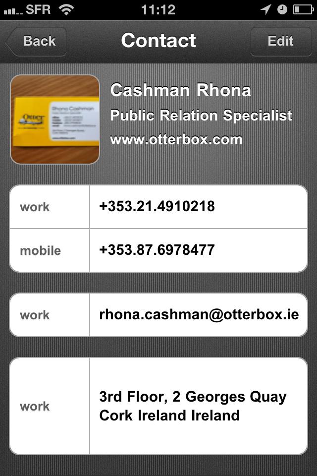 TestCarScanPro015 Test de Card Scanner Pro   Reconnaissance et importation de cartes de visite sur iPhone (5,49€)