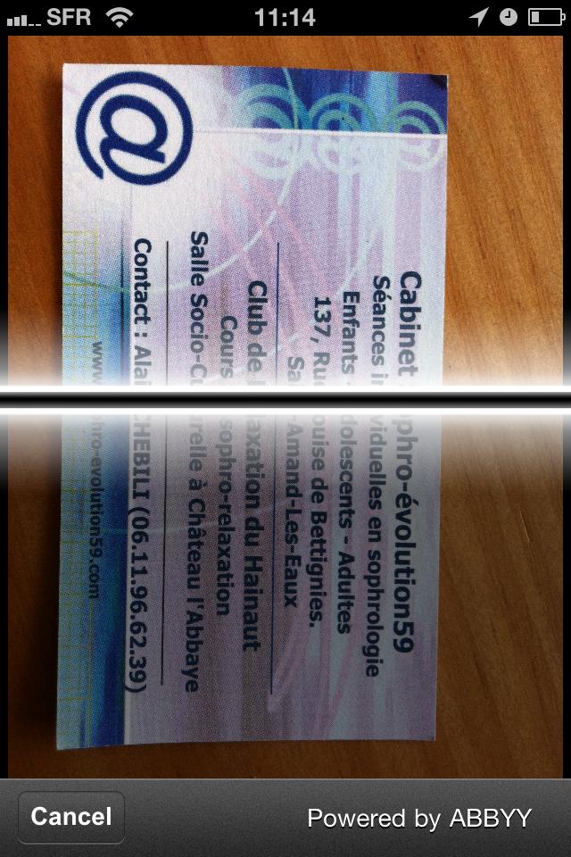 TestCarScanPro019 Test de Card Scanner Pro   Reconnaissance et importation de cartes de visite sur iPhone (5,49€)