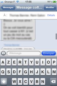 iMessage1 iOS 5 bêta 6 : interface message modifiée en images
