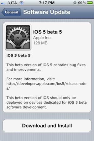 iOS 5 Beta 5 LiOS 5 bêta 5 disponible pour les développeurs