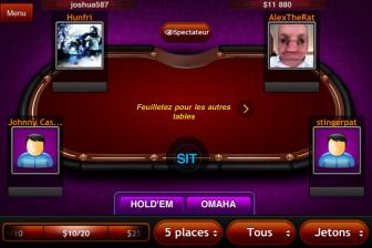 Test Texas Hold'em Pro écran choisir