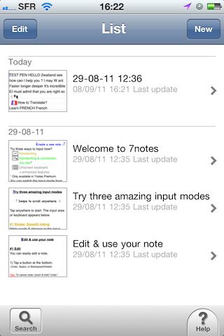 Test7notes001 Test de 7notes et 7Notes Premium   Prendre des notes imagées sur iPhone et iPad