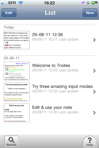 Test7notes001 Test de 7notes et 7Notes Premium   Prendre des notes imagées sur iPhone et iPad