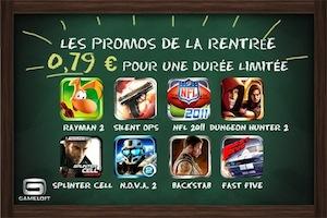 promos gameloft Gameloft Fête la rentrée : Des jeux de qualité en promotion à 0,79€