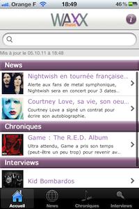 Accueil Waxx music (gratuit), un mag musical : des news, chroniques et interviews