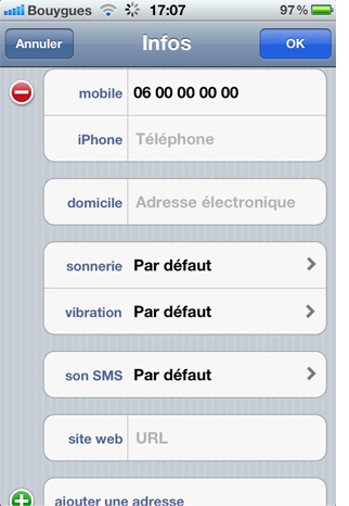 Personnalisation contact