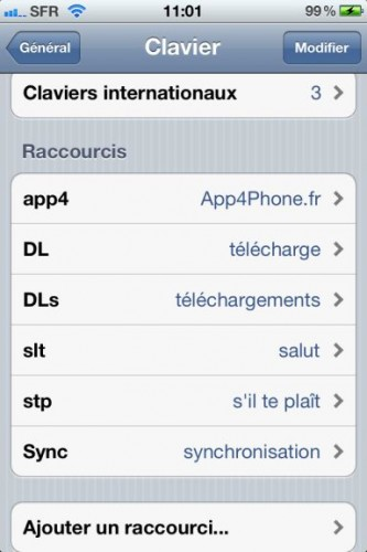 astuce raccourcis 2 333x500 Astuce : Comment paramétrer des raccourcis clavier dans iOS5 !