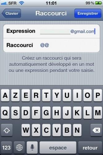 astuce raccourcis 3 333x500 Astuce : Comment paramétrer des raccourcis clavier dans iOS5 !