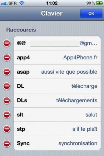 astuce raccourcis 51 333x500 Astuce : Comment paramétrer des raccourcis clavier dans iOS5 !