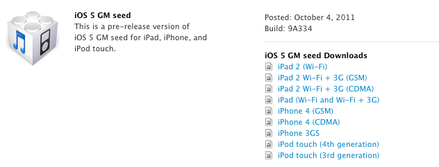 iOS 5 GM12 LiOS 5 GM est disponible !