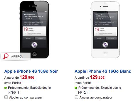 iPhone 4S SFR liPhone 4S en précommande chez SFR dès maintenant à partir de 129€ !